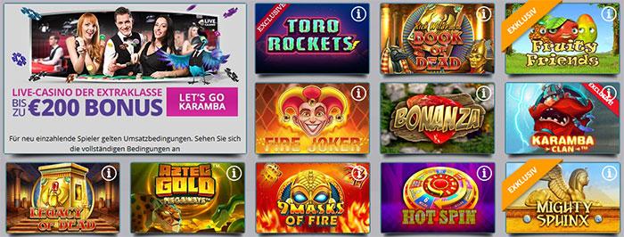 Karamba Casino Spielangebot